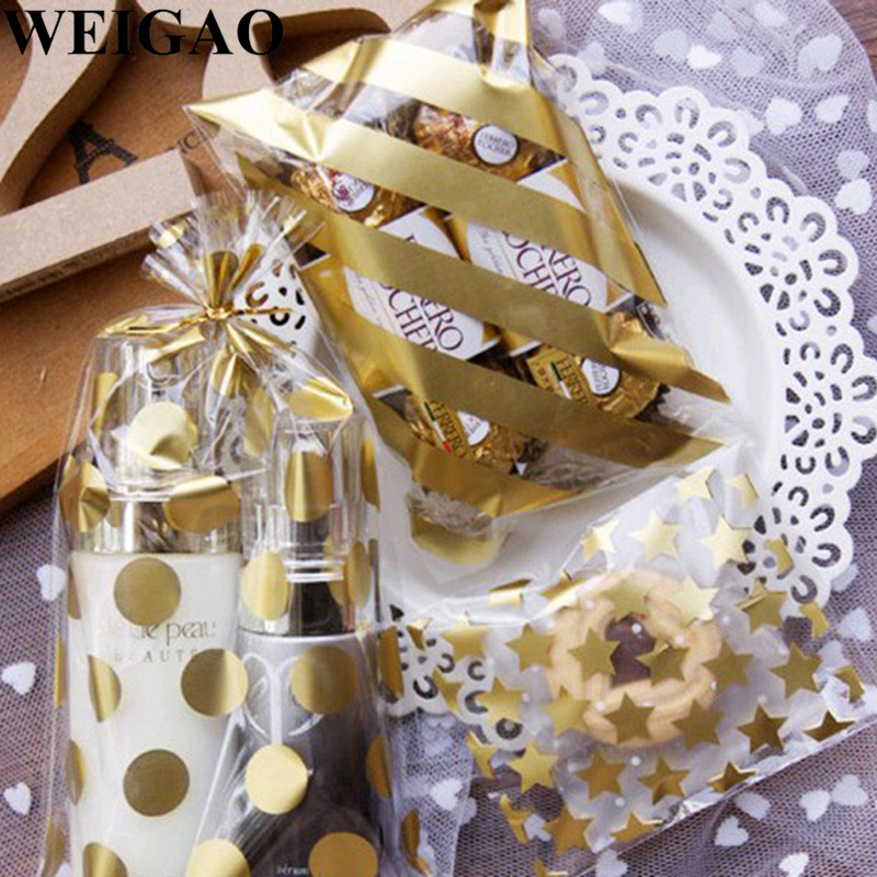 WEIGAO 20Pcs Gold Candy Bags Polka Dot Christmas Bags For Xmas Party Cookies Biscut Wrap Package Plastic Bag Birthday Gift Box