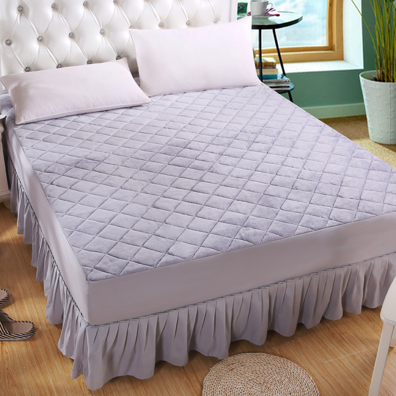 5 Colors plain flannel quilted bed skirt soft ruffles bedspread ... : quilted bedcover - Adamdwight.com