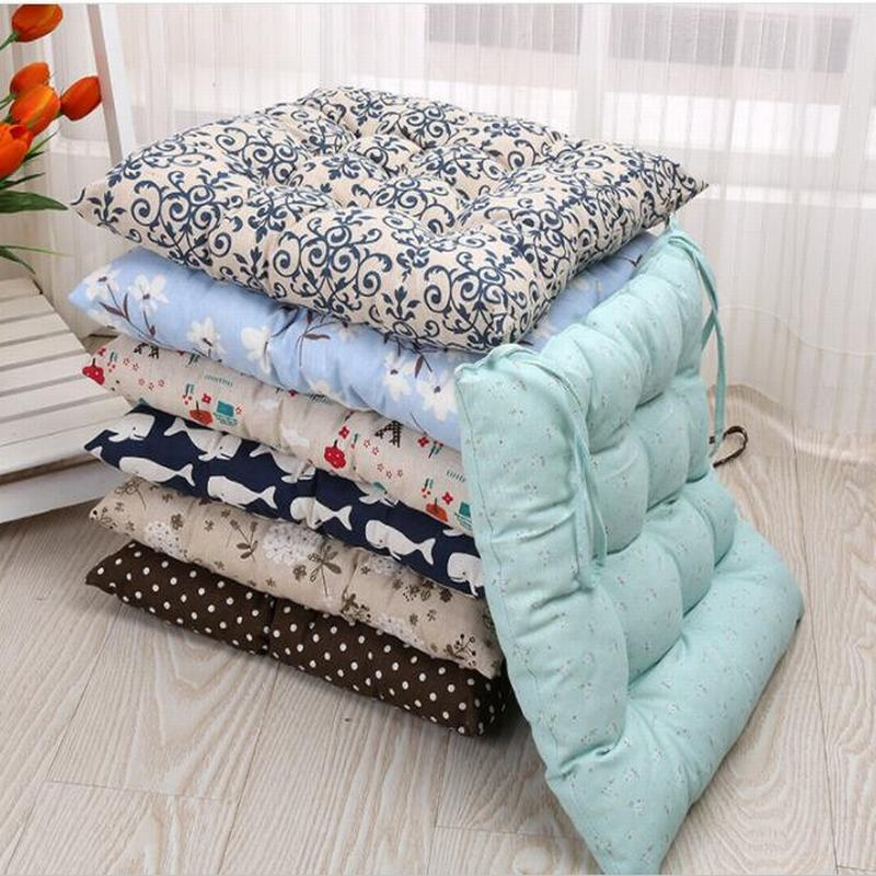 Pastoral Floral Cartoon Printed Modern Linen Bubble Pad Kitchen Office Chair Cushions Dining Floor Seat Cushion Mat 40x40cm