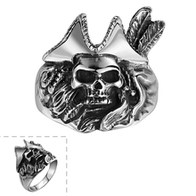 Free Shipping New Fashion Jewelry 316L Stainless Steel Skeleton Rings for Men Vintage Personality Skull Ring anel masculino R143