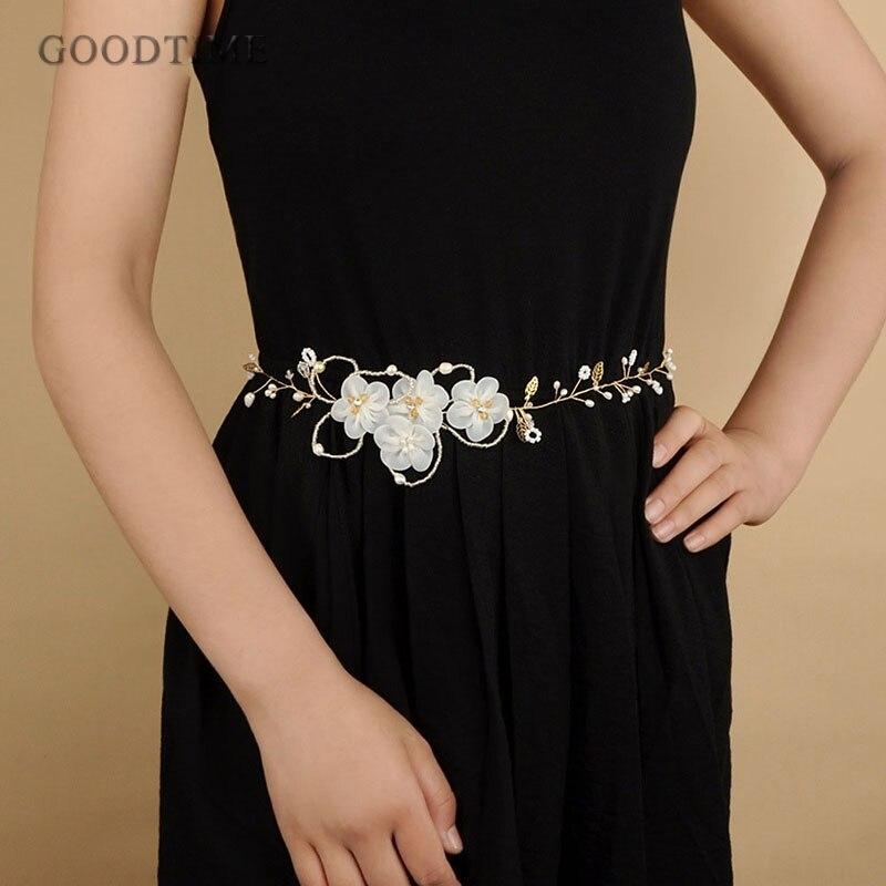 Accesorios de moda de vestido de la boda flores apliques marco Correa venda con perla para novia vestidos de mujer cinturones de fiesta