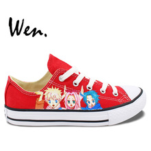 Wen Red Hand Painted Shoes Design Custom Naruto Little Horse Men Women's Low Top Anime Canvas Sneakers for Gifts