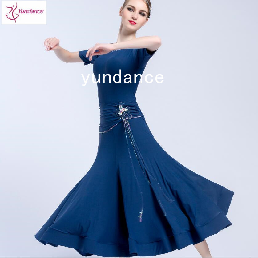 One-piece dress ballroom dress navy blue with lace tailor made M-1715