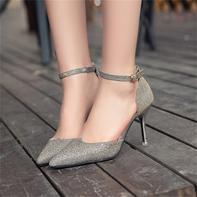 2016 New Hot Sale New European Fashion Sequins 4 Color High Quality Pointed Toe Women Pumps HSB23