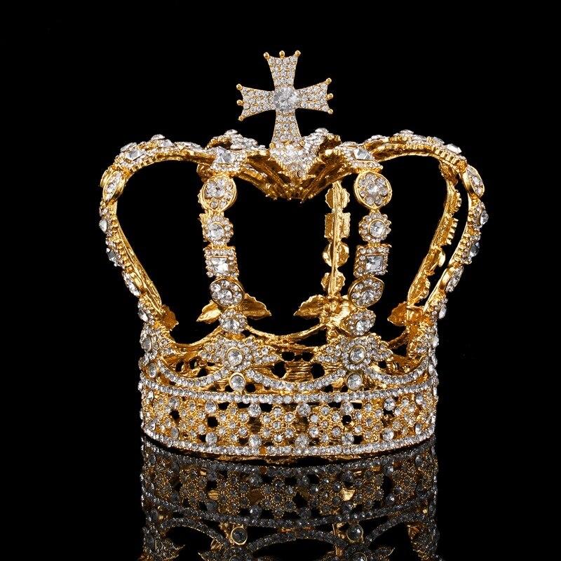 Tiaras de casamento, diadema de cristal queen king coroa para noiva acessórios de joias diadema para cabelo