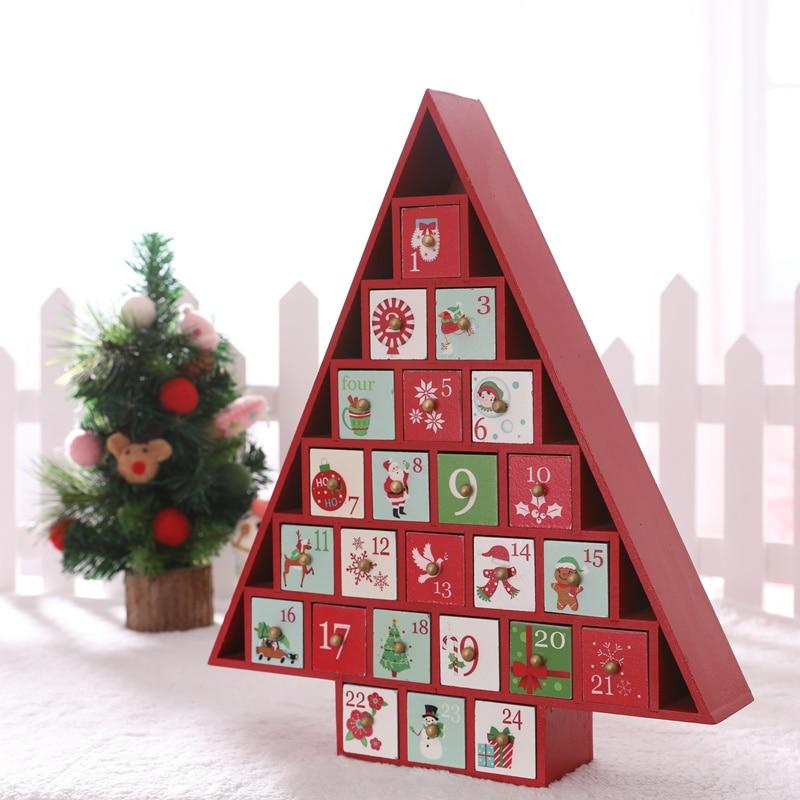 Рождественская елка дом с ящиком Рождественское украшение креативная Деревянная Рождественская елка, конфеты для хранения X'mas календарь о... - 2
