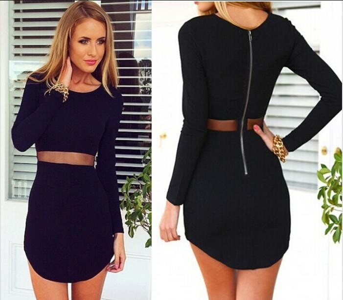 01a54daaf2 2015 New Sexy Womens Long Sleeve Dresses Slim Wrap Party Mesh Club Mini  Sheath Dress Bandage Dress 64005-in Dresses from Women s Clothing on  Aliexpress.com ...