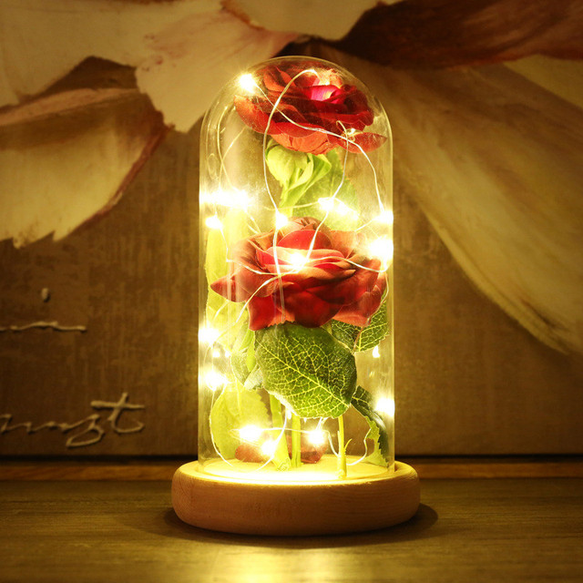 Perfect Beauty And The Beast Simulation LED Strip Night Light Bottle Little Prince  Table Lamp Red Rose