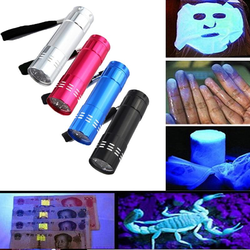 Mini Aluminum UV Ultra Violet 9 LED Flashlight Blacklight Torch Light Lamp UV Flashlight Torch Mini Hand Light Latarka Work