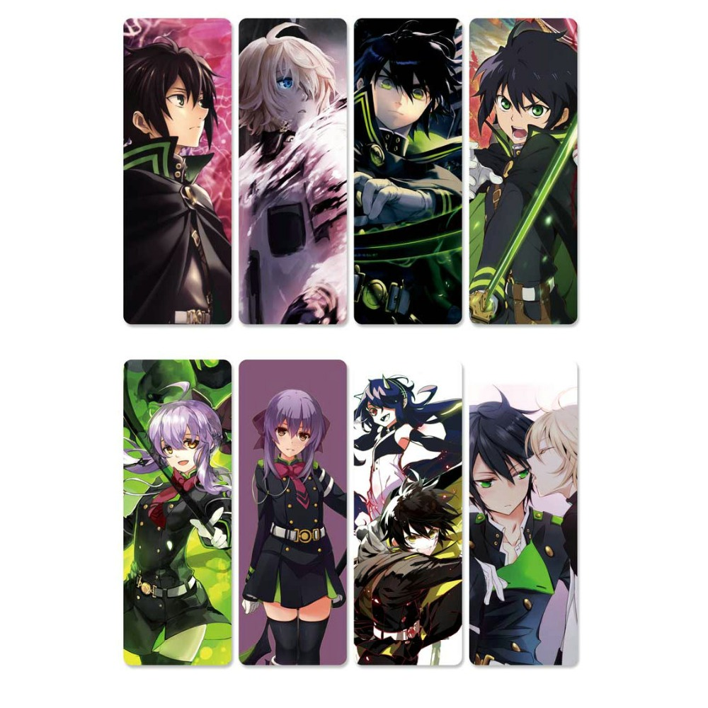 8pcs Seraph Of The End Anime Bookmarks Waterproof Transparent PVC Plastic Bookmark Beautiful Book Marks Gift