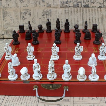 High-grade Antique Wooden Chinese Chess Game Set Folding Chessboard Traditions Resin Pieces Board Yernea