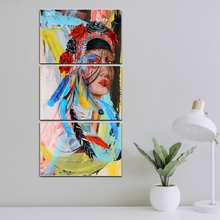Dropship 3 Piece American Tribe Feather Girl Artwork Portrait Wall Art Canvas Print Abstract Painting for Room Home Decor