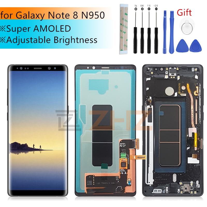 Super Amoled lcd para Samsung Galaxy Note 8 N950 N950F lcd touch screen Digitador Assembléia com Moldura de substituição de peças de reparo
