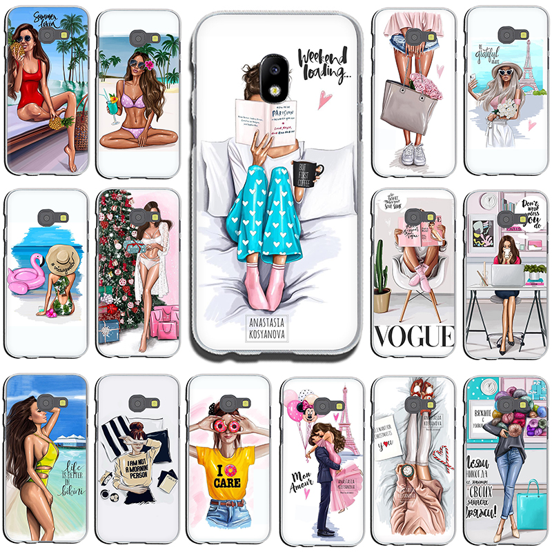 VOGUE Christmas Princess Girl Female Hard phone cover case for Samsung GaLaxy J6 J7 J1 J2 J3 J5 2015 2016 2017 Prime image