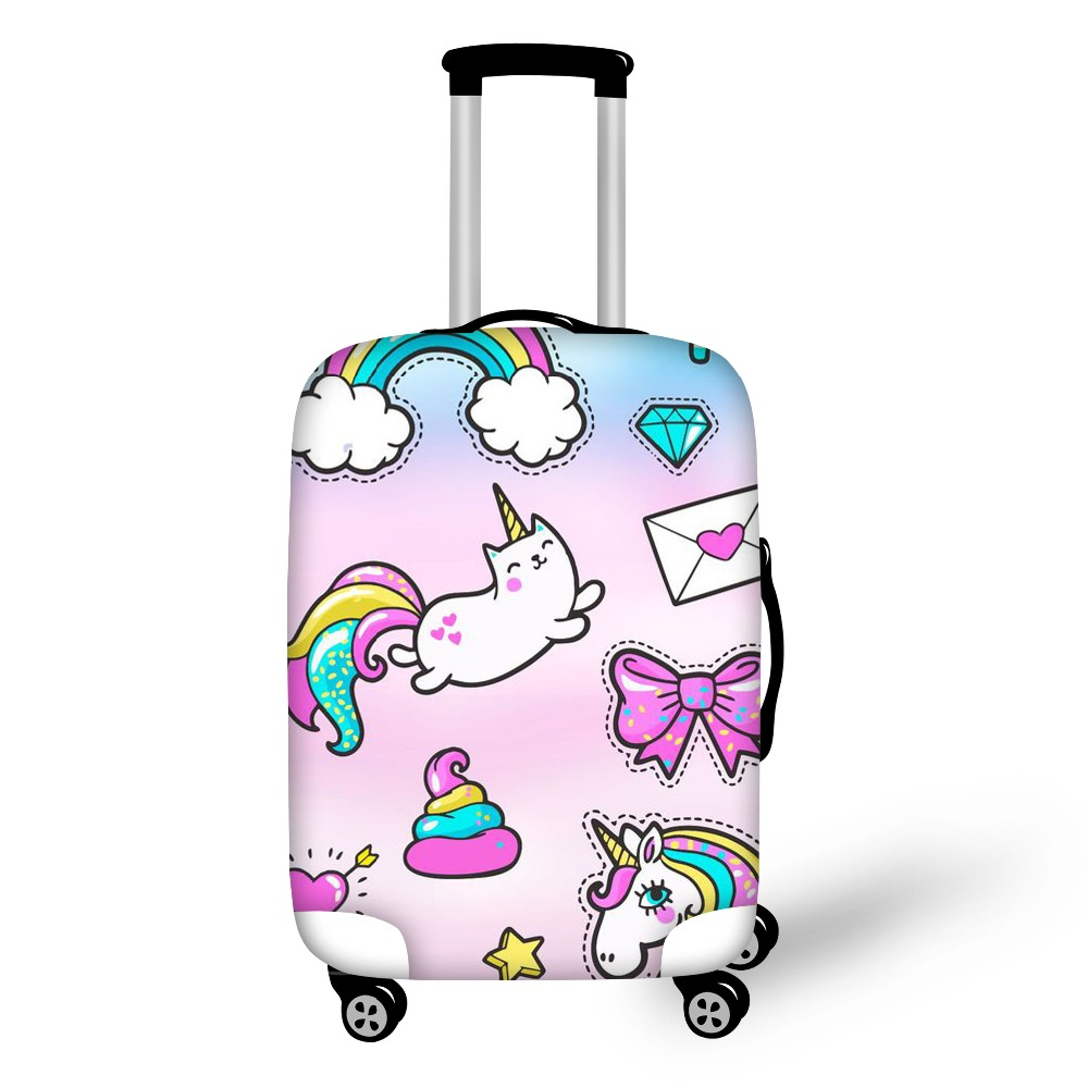 "FORUDESIGNS 3D Unicorn Cat Luggage Protective Cover Anti-Scratch Luggage Cover for 18""-28"" Trolley Suitcase Elastic Dustproof"