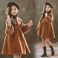 Woolen Coat For Girls Autumn Girls Jacket Flower Children's Clothes Christmas Red Kids Outerwear Winter Girl Clothes 6 8 12 Year