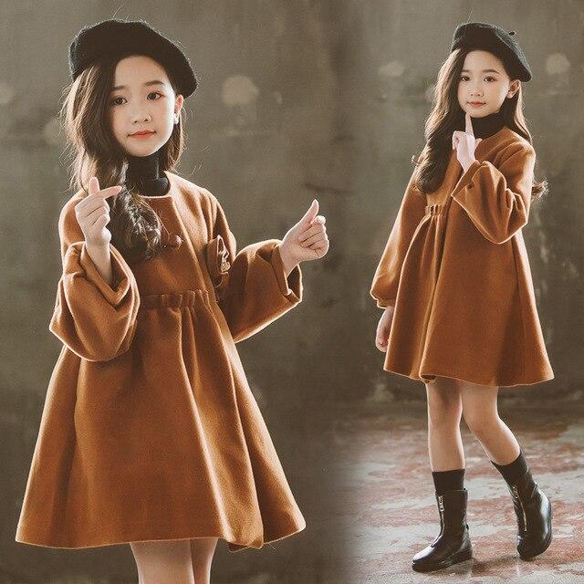 8a18e08baf8b Woolen Coat For Girls Autumn Girls Jacket Flower Children s Clothes ...