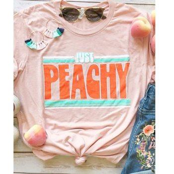 Nueva camiseta para mujer, camiseta a la moda con estampado just peachy, camiseta gráfica de manga corta, camisetas femeninas