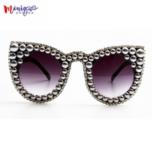 2017 sunglasses women brand designer Oversize Cat eye Sunglasses Silver Beads Luxury Sunglasses Vintage Sunglasses Female  UV400