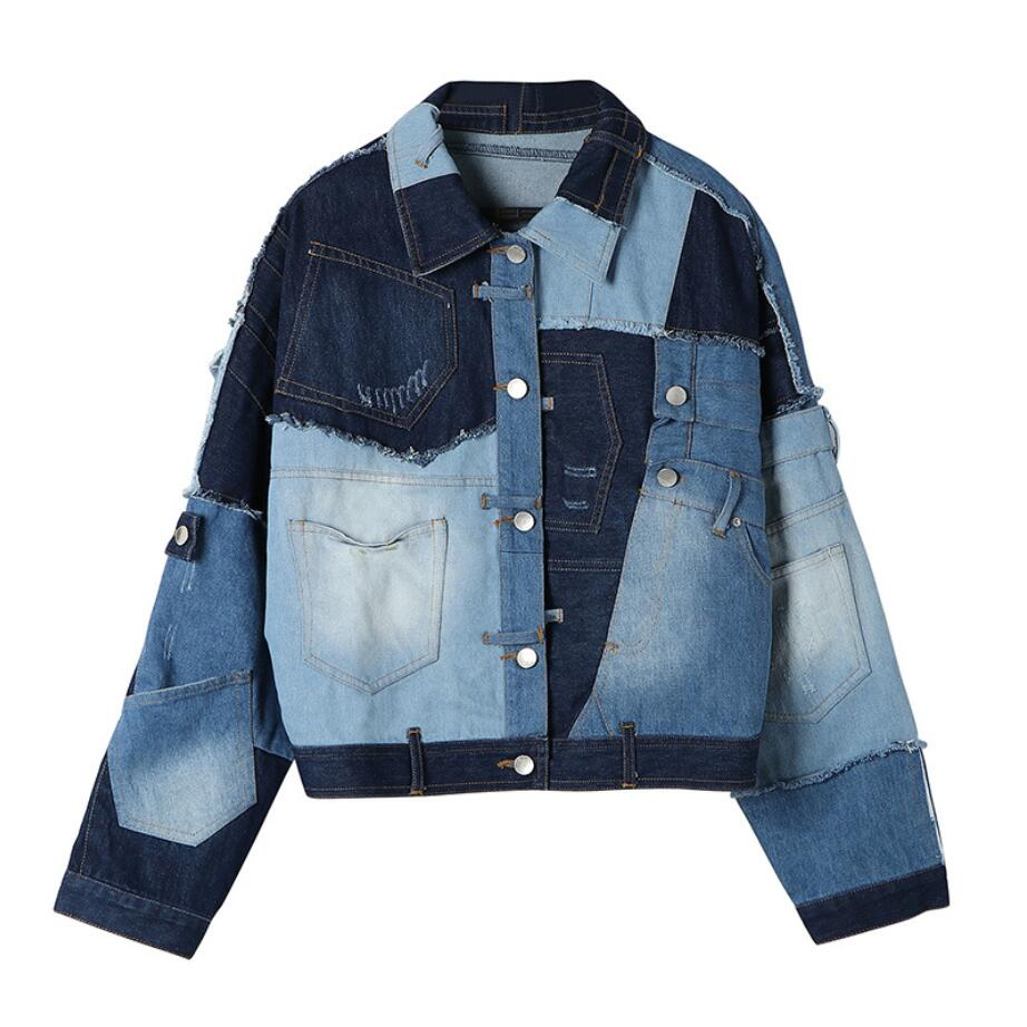 A very expensive Women's   Basic     jacket   more than 100 pieces of cloth stitching color matching denim   jacket   new loose   jacket