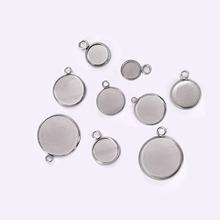 50pcs Stainless Steel Necklace Pendant Setting Cabochon Cameo Base Tray Bezel Blank Fits Bracelet Earrings Jewelry Making 20pcs 12mm heart inner size stainless steel material simple style cabochon base cameo setting charms pendant tray t7 41