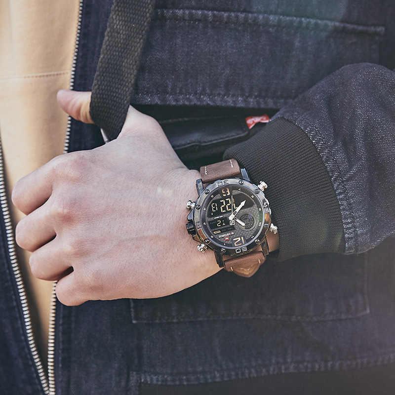 Mensนาฬิกาแบรนด์หรูผู้ชายหนังกีฬานาฬิกาผู้ชายNAVIFORCEควอตซ์LEDนาฬิกากันน้ำนาฬิกาข้อมือทหาร
