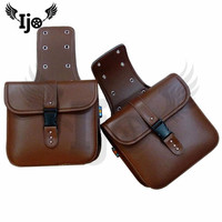 leather moto side tank saddle bag classic for vespa Piaggio harley softail sportster motorcycle accessories backpack saddlebag