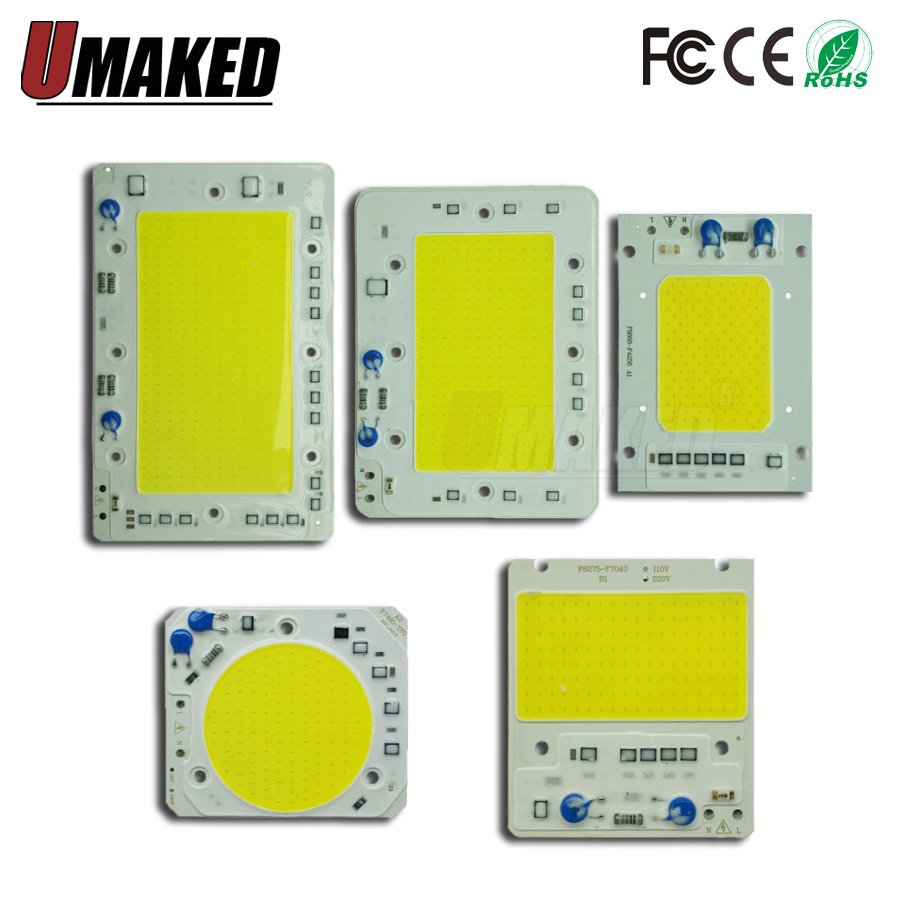 COB LED Lamp Chip 30W 40W 50W 100W 150W LED COB Bulb Lamp 220V Smart IC Cold Warm White LED Spotlight Floodlight Chip