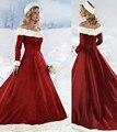 Nova Chegada Vestidos de Noiva Red A Linha Strapless Cetim Bordado do vestido de Casamento Do Inverno Do Natal Vestidos
