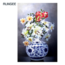100% Hand Painted Realistic Vase Flowers Painting On Canvas Wall Art Adornment Pictures For Live Room Home Decor