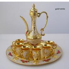 8 шт./компл., металлический золотой белый винный набор из сплава, кухонный обеденный бар, 6 Кружки винного цвета, 1 баночка, 1 лоток, рельефный резной 319C
