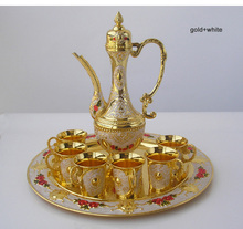 8 PCS/set alloy metal gold white wine set kitchen dining bar 6 wine cups 1 jar 1 tray embossed carved 319C