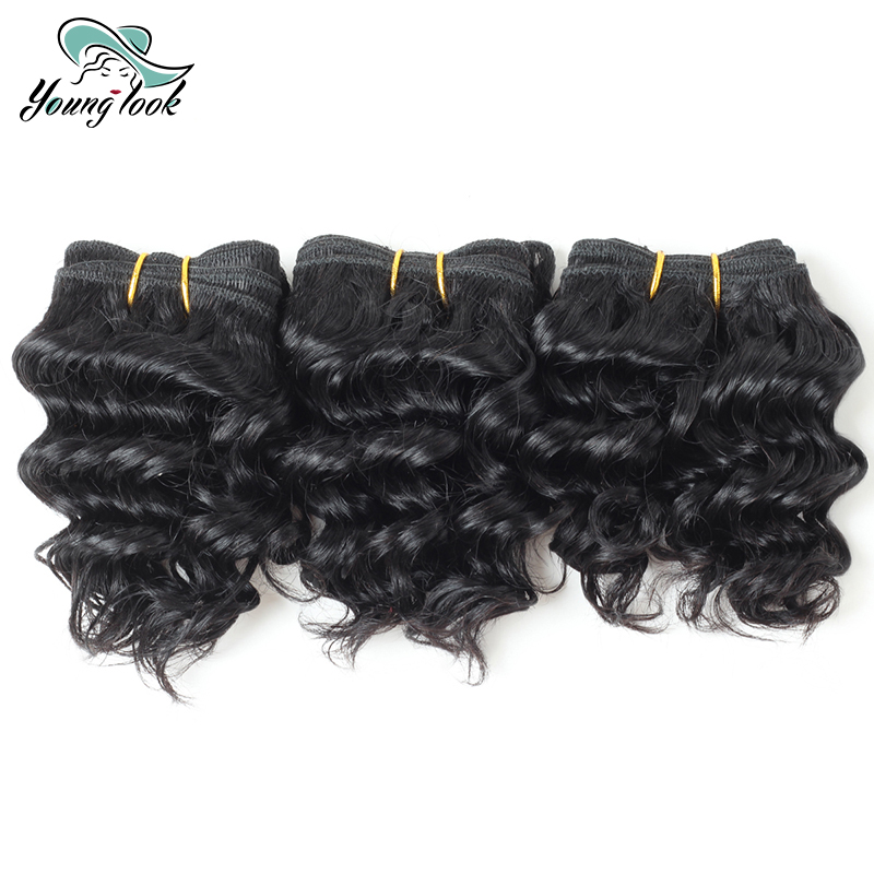 Young Look Hair Deep Wave Bundles Brazilian Human Hair Non Remy Hair Weaving #1 Natural Color 3 Bundles Hair Extension For women