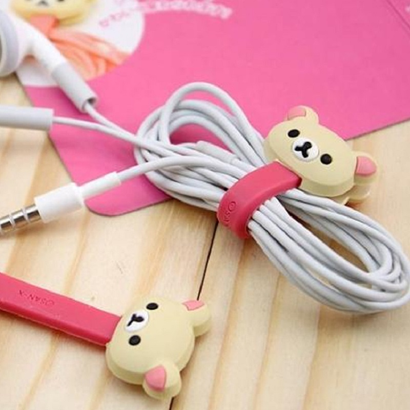 4Pc Kawaii Bear Chick Cable Bobbin Winder Protector Data Line Cord Protective Case USB Wire Line Cord Earphone Stationery Holder