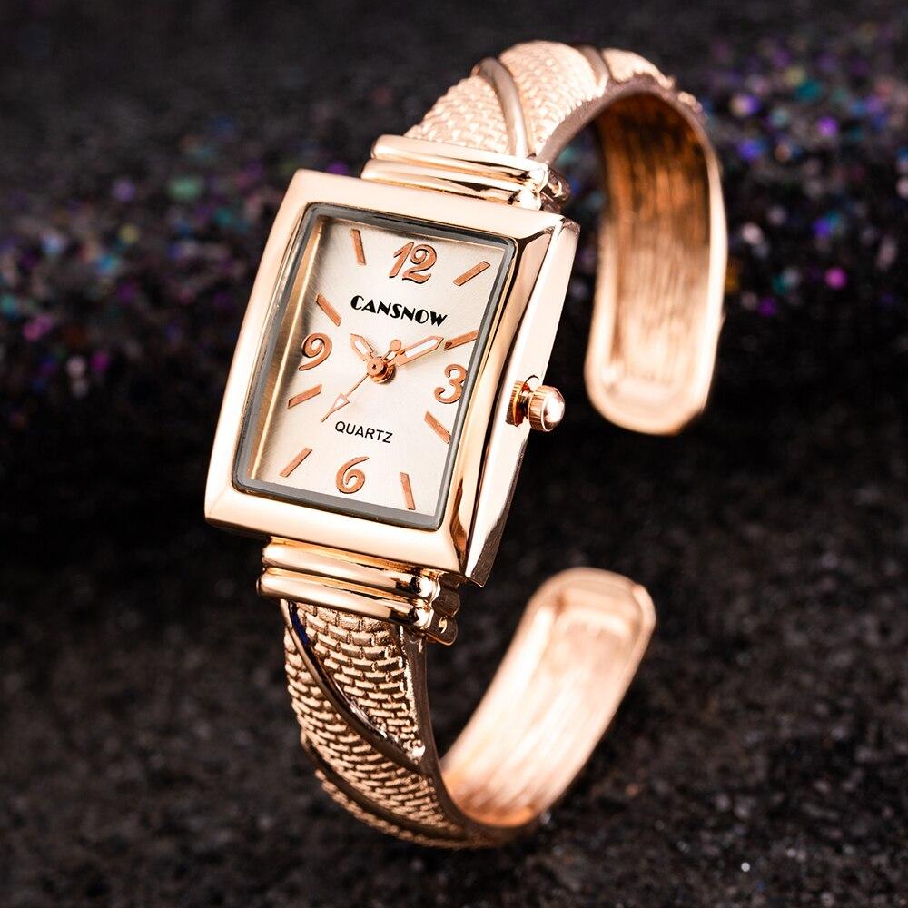 Top Stylish Luxury Women Watch Bracelet Watch Ladies Bracelet Wristwatch Stainless Steel Elegant Watch Square Clock Reloj Mujer