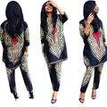 2017 Африка Базен Riche Платья Ретро Национальный Большой Благоприятный Dashiki Мода Свободные + Пальто Из Двух частей Брюки Женщины одежда