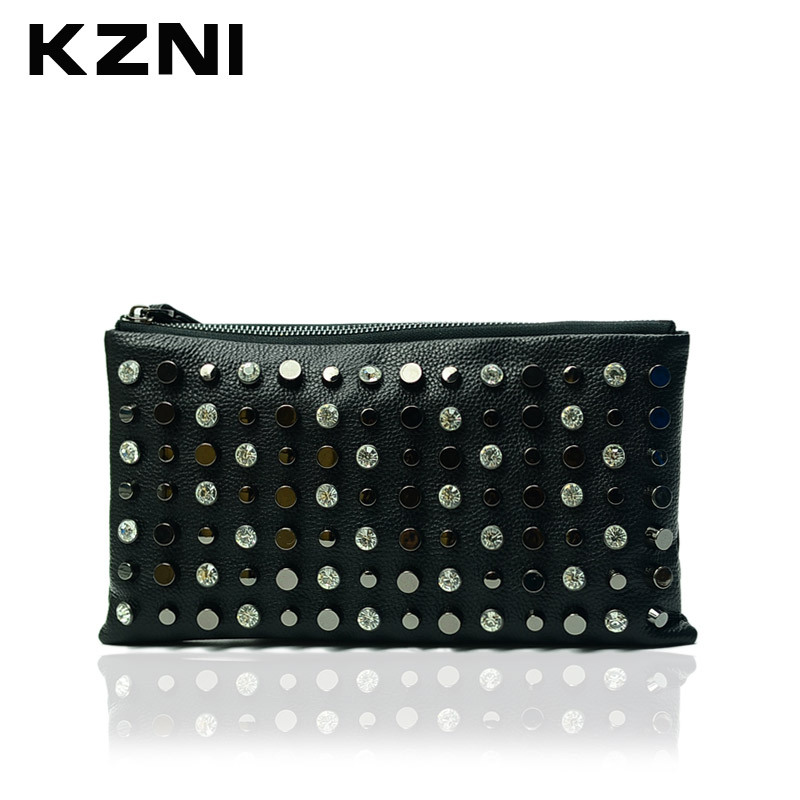 KZNI Day Clutches Rivet Bag Wristlet Wallet Leather Card Holder Women Bags Large Capacity Genuine Leather Cowhide Clutch 1333 women s genuine leather day clutches 2016 new china designers women s cowhide embossing one shoulder bags fashion day clutches