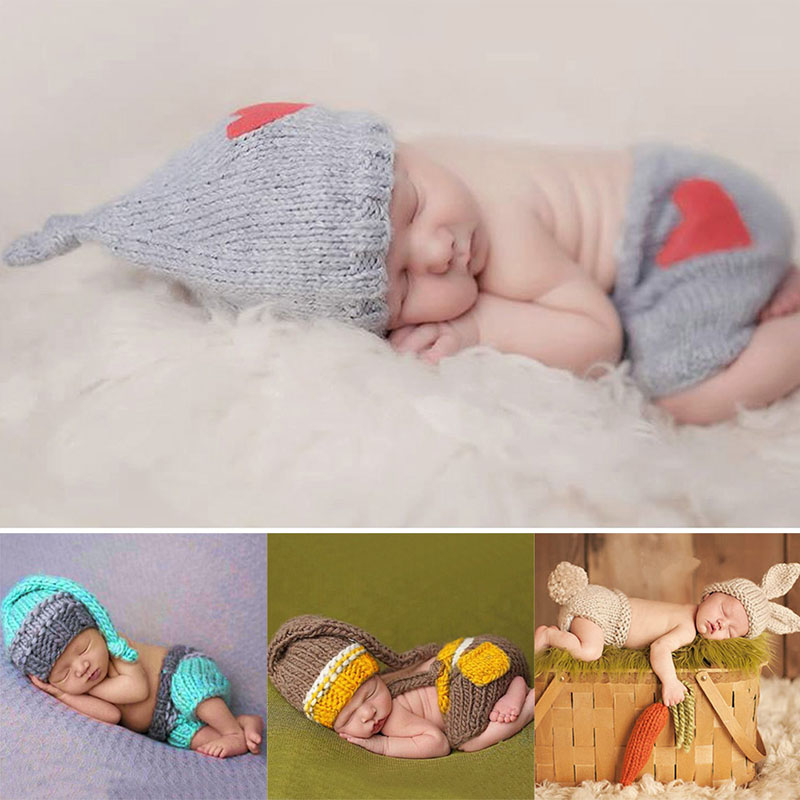 Newborn baby cute crochet knit costume prop outfits photo photography baby hat photo props new born baby girls cute outfits in hats caps from mother