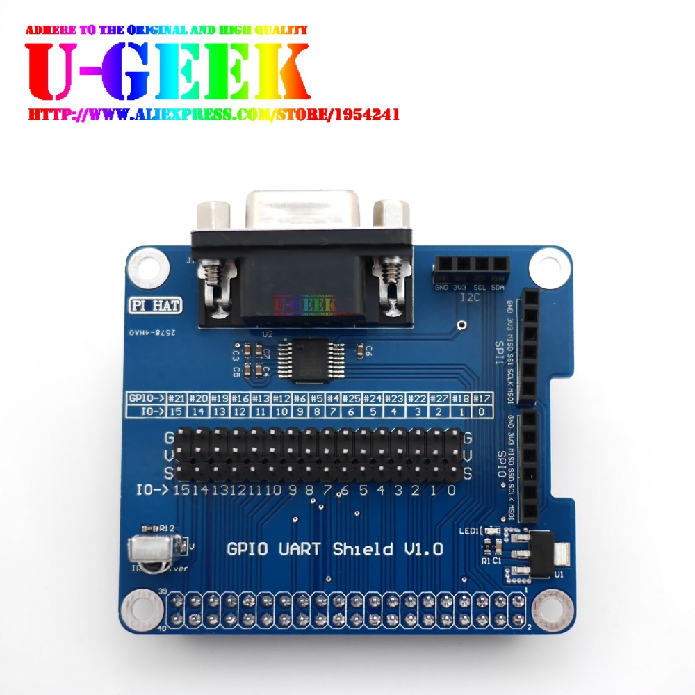 UGEEK Original Design! Serial Port Expansion Board RS232 For Raspberry Pi 3 Model B, 3B+, 3A+ GPIO UART Shield | With IR Receive