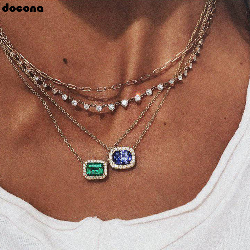 Docona Vintage Silver Color Green Blue Large Crystal Rhinestone Layered Necklace For Women Boho Square Pendant Necklaces 3959