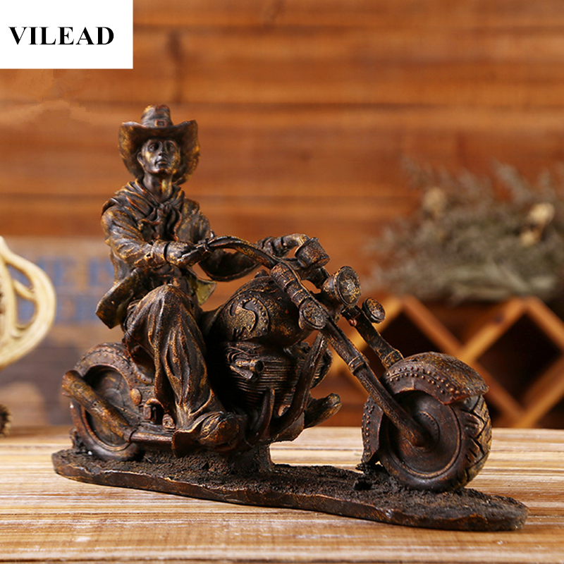 VILEAD 8.9 Resin American Western Cowboy Statuettes Vintage Motorcycle Model Miniatures Figurines Home Decoration Accessories