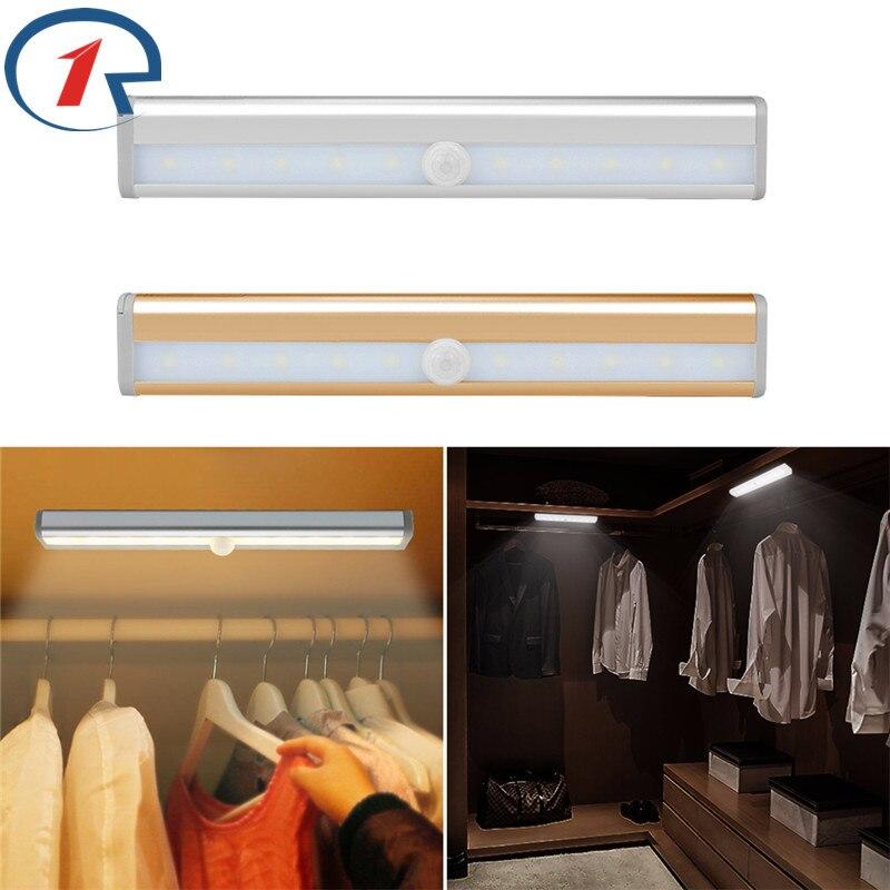 цена на ZjRight Energy saving Auto Motion Sensor 10LED Light Wireless PIR cabinet Kitchen bedroom lamp Wardrobe indoor Stair night light