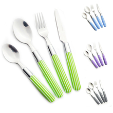 New Arrival Plastic Handle Camping Cutlery Set 24 Pieces Stainless Steel Dinnerware Portable Flatware Household Fork Spoon Knife