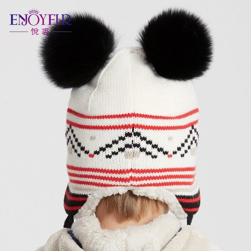ENJOYFUR Unisex invierno niños sombreros Fox Fur Pompom gorros de niños  cálido forro grueso otoño Cap para niños y niñas en Gorros y sombreros de  Accesorios ... fcc1b9c293e
