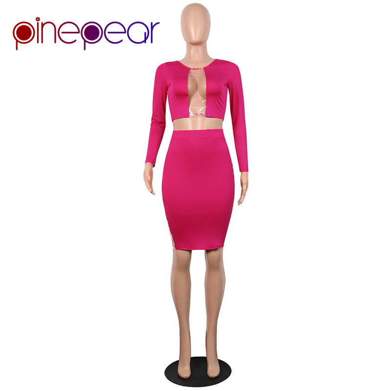 4ab08455 ... PinePear See Through Plastic Thin Film Sexy Dress 2019 Winter High  Street Trend Rose Red Long ...