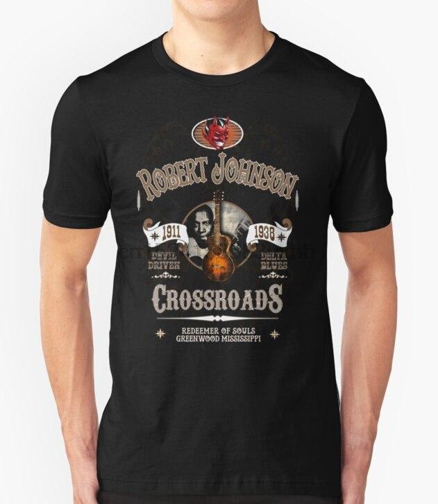 Printed Men   T     Shirt   Cotton O Neck Tshirts Robert Johnson Devil Driven Delta Blues Short Sleeve Women   T     Shirt