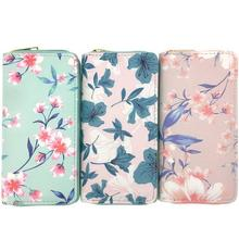 KANDRA New Women Leather Wallets and Purses Floral Print Summer Holiday Bags Zipper Coin Purse Cards Holder Wholesale