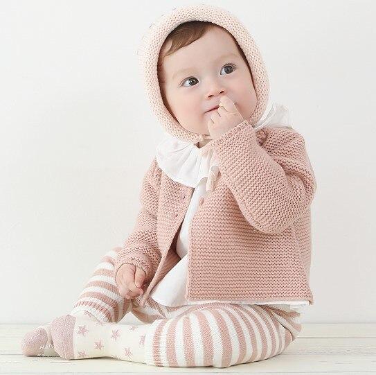 Niña Otoño Invierno chaquetas de punto infantil del bebé