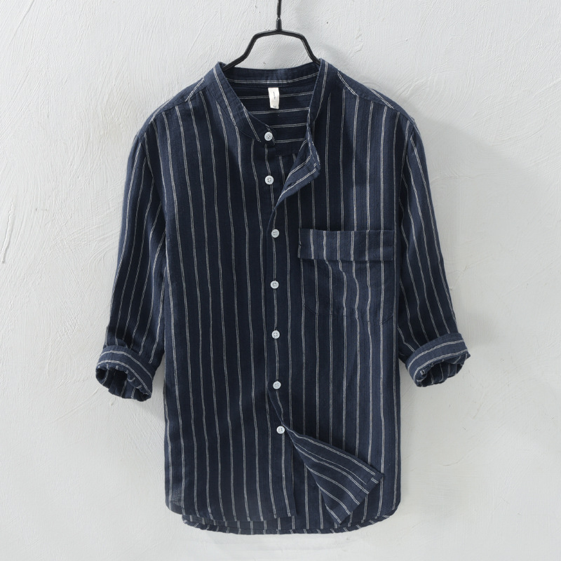 00494efa9267 Striped Cotton Linen Casual Shirt Men Short Sleeve Mandarin Collar Slim Fit  Men Shirt Summer Social