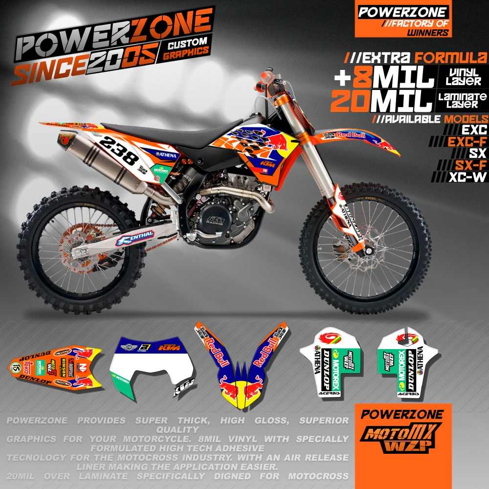 MX Racing Custom Team Graphics Backgrounds Customized Decals 3M Stickers Kit KTM EXC W XC XCW F SX SXF125 -530 - PowerZone Co.,Ltd store